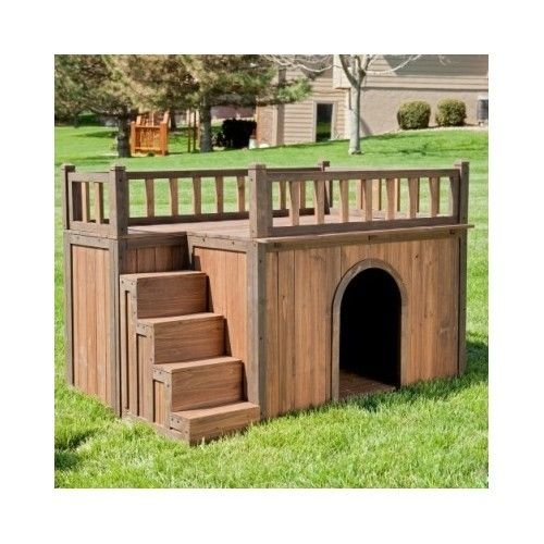 Large Dog House Pet Wood Kennel Deck Raised Floor Staircase Outdoor Shelter New 189 94 Advanced Search For Boomer George