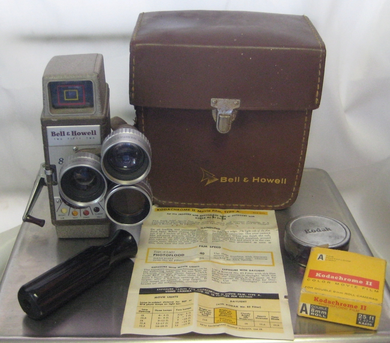 Bell Howell 252, 25 Feet Type A 8mm Color Film, Three Lenses On Turret, Case