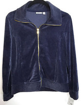 Croft & Barrow Petite Small Jacket Navy Blue Velour Full Front Zip 2 Poc... - $21.77