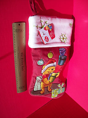 "Disney Home Decor 18.5"" Winnie Pooh Red Christmas Stocking Holiday Decoration image 8"