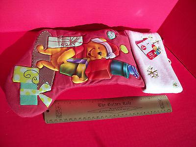 "Disney Home Decor 18.5"" Winnie Pooh Red Christmas Stocking Holiday Decoration"