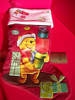 "Disney Home Decor 18.5"" Winnie Pooh Red Christmas Stocking Holiday Decoration"