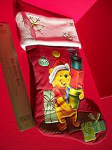 "Disney Home Decor 18.5"" Winnie Pooh Red Christmas Stocking Holiday Decoration image 7"
