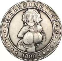 Hobo Nickel 1890 USA Morgan Dollar Kinky Girl Bikini Headphone COIN Anim... - $11.99