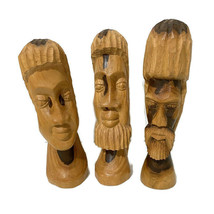 Ethnic Tribal Hand Carved Wood Head Bust Figure Light Color Tall Skinny ... - $93.50