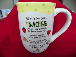 Teacher Tall Coffee cup mug Made By Ganz My Wish For You Yellow And Green - $4.84