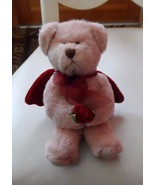 "Russ small pink bear with red velvet wings 6"" by Russ - $6.25"