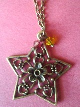Handmade Antiqued Bronze Star Pendant and Swarovski Crystal Necklace - $8.00