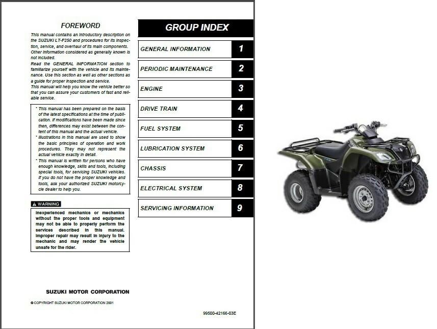 02 09 Suzuki LT F250 Ozark 250 ATV Service And Similar Items