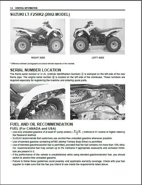 02-09 Suzuki LT-F250 Ozark 250 ATV Service Repair Manual CD  LTF250 LTF 250 LT F