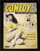 """Bettie Page 8.5""""X11"""" 2 Sided Pin Up Comedy & 1955 Art Photography Magazine Photo - $12.59"""