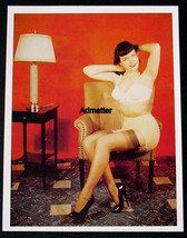 BETTIE PAGE 8.5X11 2-SIDED PIN-UP IN STOCKINGS BRA & PANTIES 2 SEXY PHOT... - $7.91