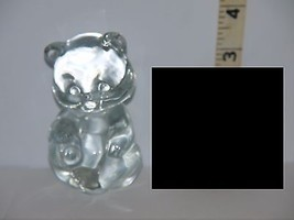 Miniature Clear Solid Glass Teddy/Panda Bear Figurine Doll House/Shadow ... - $5.79