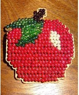 New Red Apple Pin Brooch Glass Beads Jewelry Finished Mill Hill Handmade... - $14.99