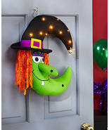 Porch Patio Home Decore Lighted Witch Door Wreat Halloween Wall Art Covered - $24.72