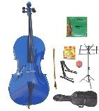 Primary image for Lucky Gifts 1/8 Size Cello,Bag,Bow+Rosin+Extra Strings+Tuner+2 Stands ~ Blue