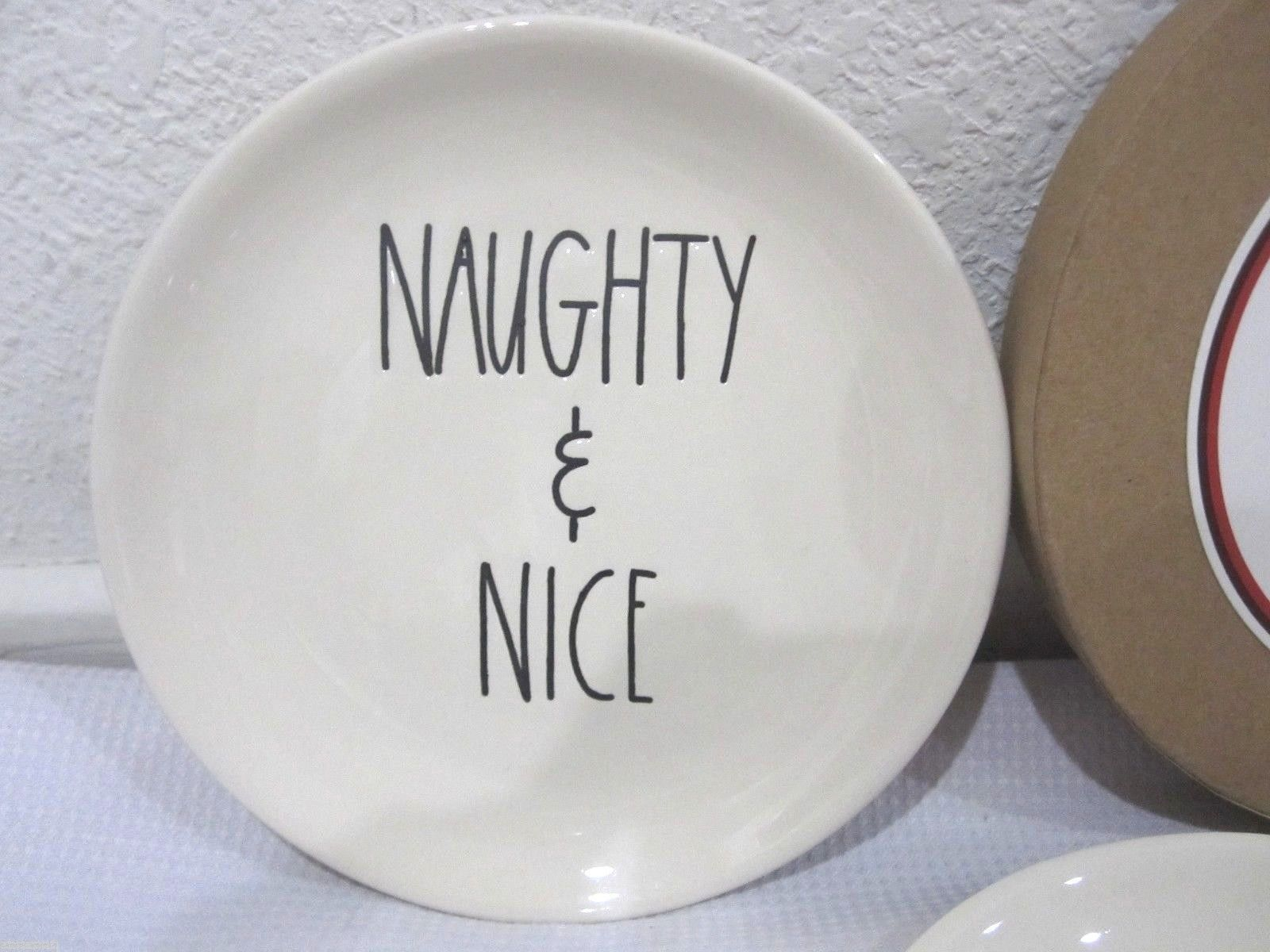 Magenta By Rae Dunn Christmas NAUGHTY \u0026 NICE 6\  Canape Dessert Plates Set of 4 & Magenta By Rae Dunn Christmas NAUGHTY \u0026 NICE and 50 similar items