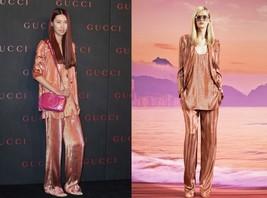 NWT 100% AUTH Gucci iridescent rust liquid lamé deconstructed jacket 33... - $394.02