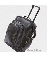 "Black Faux Leather 19"" Trolley Backpack Push Button Release Telescopic H... - $60.99"
