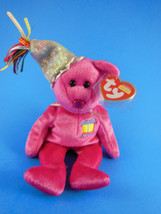 January Happy Birthday Pink Ty Beanie Babies Teddy Bear with Hat and Cov... - $3.46