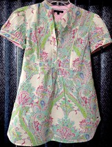 Women's TOMMY HILFIGER Flor De Lis Paisley Splattered Size 4 Shirt Top B... - $17.61