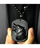 natural Obsidian stone Hand carved  Wolf head good luck charm pendant  - $15.83