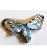 Sterling Silver 925 Marquise cut Blue Topaz  slide Pendant - $137.61