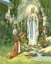 Catholic Print Picture OUR LADY LOURDES St. Bernadette ready to be framed - $14.01