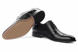 Handmade Men Wing tip formal Shoes Men black shoes Men designer leather shoes  - $169.99