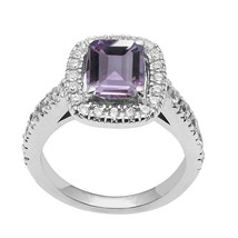 925 Sterling Silver Rectangle Amethyst & Cubic Zirconia Gemstone Ring - $31.72