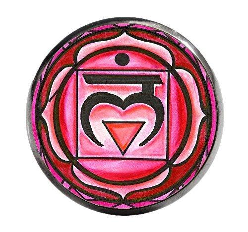 "1st Chakra Muladhara Love Root 1"" Circle Gunmetal Adjustable Ring"