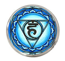 "5th Chakra Vishuddha 1"" Circle Silver Adjustable Ring - $14.95"