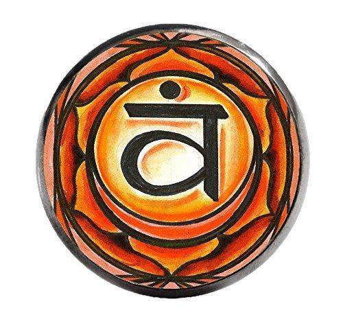 """2nd Chakra Svadisthana 1"""" Circle Gunmetal Adjustable Ring"""