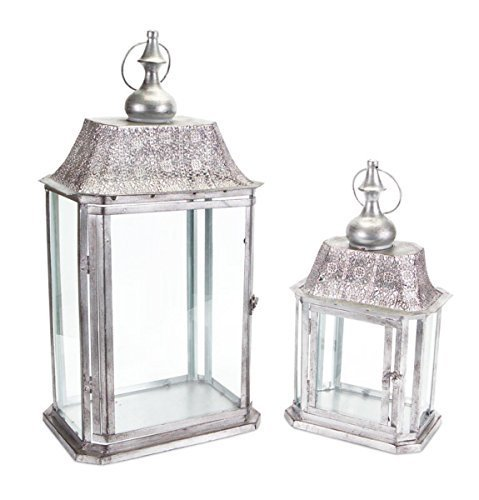 Set of 2 Silver Rectangle Antique Candle Holder Lanterns 23""