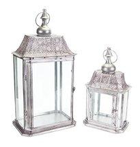 "Set of 2 Silver Rectangle Antique Candle Holder Lanterns 23"" - $118.50"