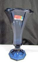 "Fostoria 7"" Dark Blue Footed Virginia Vase with... - $9.89"