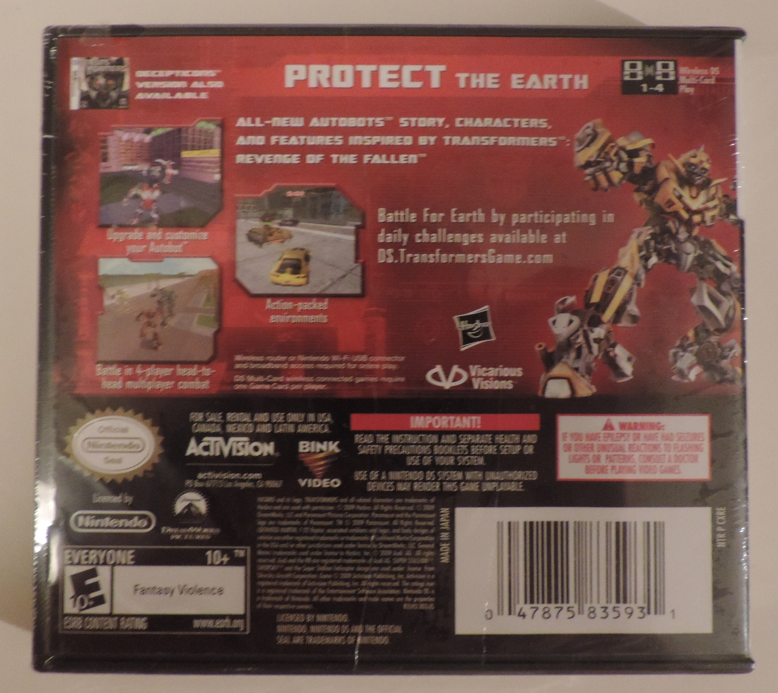 Transformers Revenge of the Fallen Autobots Version video game DS DSi - New