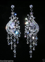 Silver Plated Clear Aurora Borealis Crystal Rhinestone Earrings Peacock Flower - $33.87
