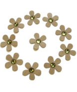 Die Cut Blossoms 10 Pk Green Acrylic Jewel Centers Kraft Paper  - $1.00