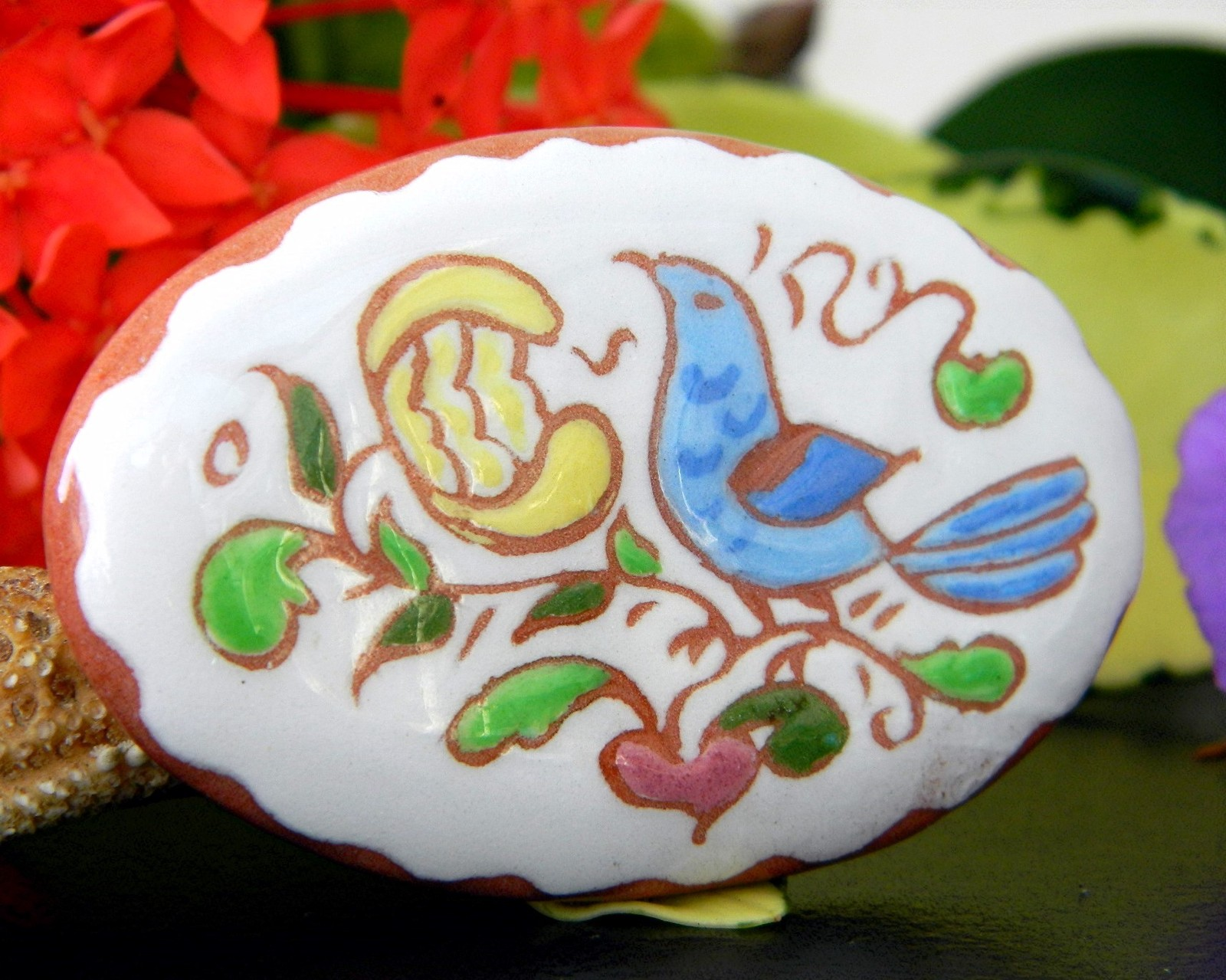Vintage Pottery Clay Brooch Pin Bird Flower Handpainted 1970 Signed JE