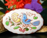 Vintage pottery clay pin brooch bird flower handpainted 1970 signed je thumb155 crop