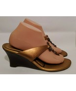 Diego Di Lucca Copper & Jewel Cross High Heeled Wedge Sandals women Size... - $16.70
