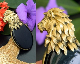 Vintage Lion Head Mane Brooch Pin Gold Black Glass Cabochon Figural - $19.95