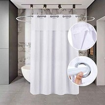 Buyplus Hookless Shower Curtain Liner - Fabric Waffle Weave Bath Curtains,White
