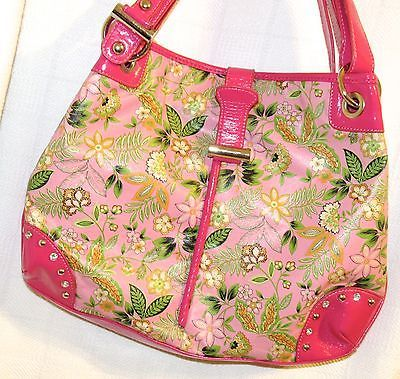 Pink Faux Patent Trim w/Florals Rhinestone Studded Satchel/Shoulder Bag
