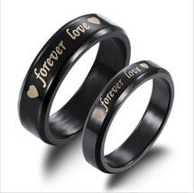 2Pcs Black Forever Love Stainless Steel Couple Ring Engagement Promise r... - $364,62 MXN