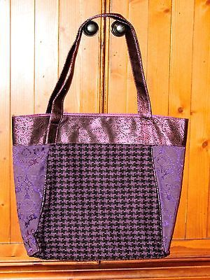 Purple Florals & Houndstooth Polyester Tote Bag