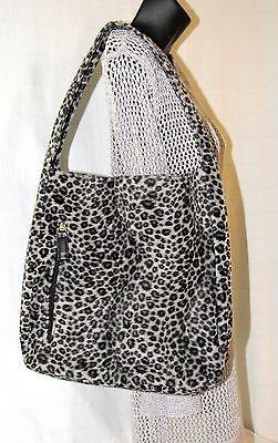 Luna Borsa Black & Gray Leopard Print Fashion Bag/Tote