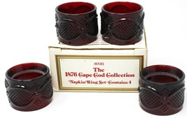 Avon 1876 Cape Cod Collection 4 Piece Napkin Ring Set Ruby Red Glass 199... - $15.79