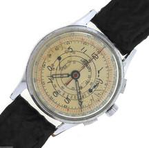 RARE Men's Vintage Fleco Britix Chronograph 654 17-Jewel Stainless Shark... - $998.85